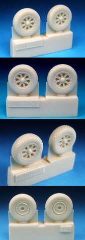 Barracuda Cast 1/72 resin Corsair & Hellcat wheels, diamond tread - BR72101