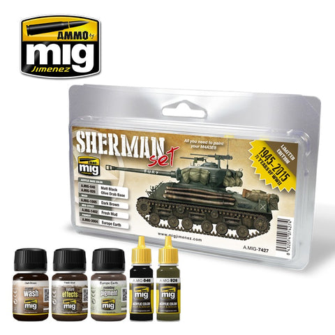 Ammo Mig Jimenez 5 jars Starter Set for late WWII Sherman - AMIG7427