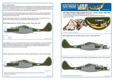 Kits-World 1/32 decals P-61B Black Widow Nightie Mission Moonhappy - 132018