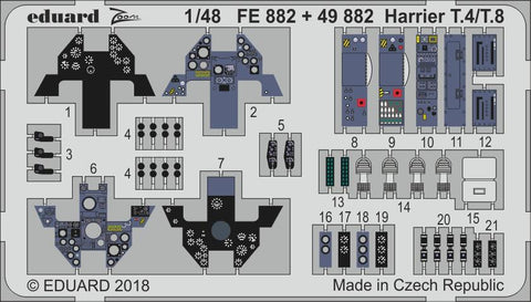 Eduard Color Photoetch set 1/48 - Harrier T.4/ T.8 for Kinetic Model - FE882