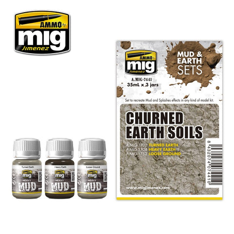 Ammo Mig Jimenez 3 jars 35mL each CHURNED EARTH SOILS ENAMEL SET AMIG7441