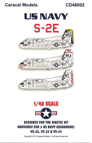 Caracal Models 1/48 decal US Navy S-2E Kinetic CD48002