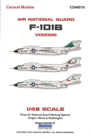 Caracal Models 1/48 decal for F-101B Voodoo Air Nat'l Guard Revell CD48010