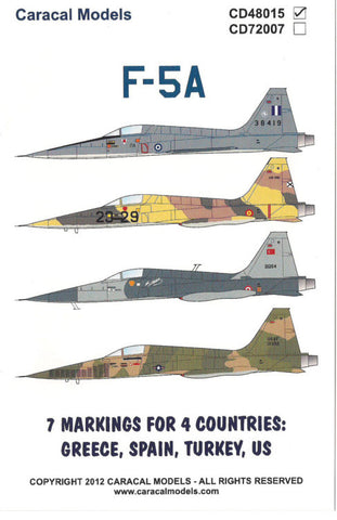 Caracal Models 1/48 decal for F-5A  AFV Kinetic CD48015