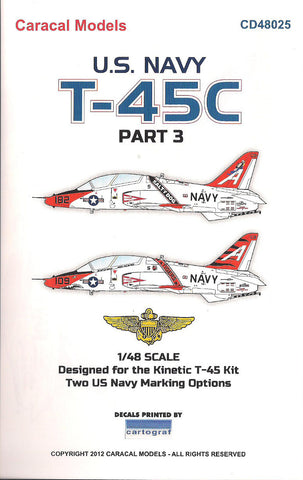 Caracal Models 1/48 decals for US Navy T-45C Pt.III Kinetic CD48025