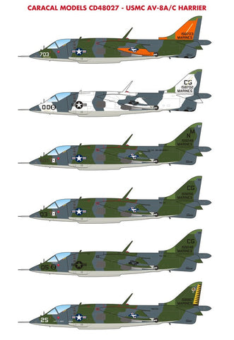 Caracal Models 1/48 decals for US Marine Corps AV-8A/C Harrier CD48027