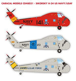 Caracal Models 1/48 decal Sikorsky H-34 US Navy/USAF Gallery CD48031
