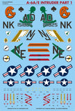 Caracal Models 1/48 Decal A-6A/E Intruder Part 1 for Kinetic CD48033