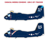 Caracal Models 1/48 decal US Navy S2F-1 Tracker for Kinetic CD48040