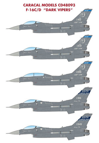 Caracal Models 1/48 CD48093 F-16C/D Dark Vipers - Have Glass V Scheme