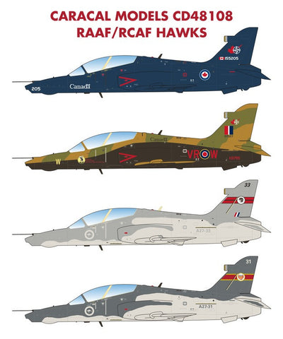 Caracal Models 1/48 Decals for Canadian & Australian Hawks for Airfix - CD48108