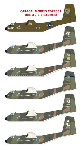 Caracal Decals 1/72 CD72051 for the DHC-4 / C-7 Caribou by Hobbycraft