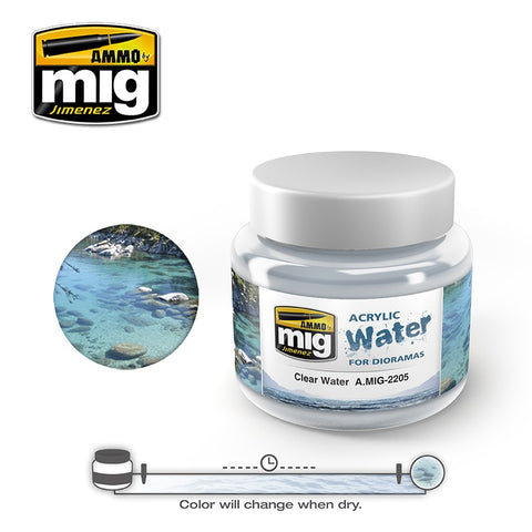 Ammo of Mig Jimenez water simulating Acrylic gel 8oz. CLEAR WATER #2205