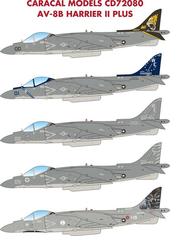 Caracal Models 1/72 decal CD72080 for AV-8B Harrier II Plus kit by Hasegawa