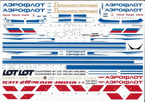 Fundekals 1/144 Decals Aeroflot Delivery IL-62s (1973 Schem) Liveries Unlimited