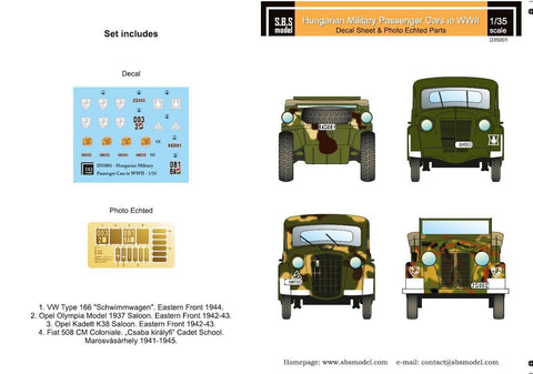 SBS Model 1/35 decals D35001 Hungarian Military Passenger cars in WWII
