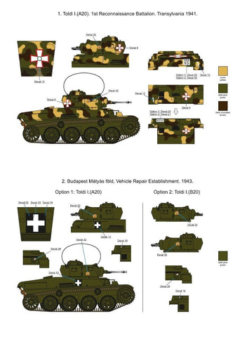 SBS Model 1/35 decals D35003 Hungarian Toldi I. (A20-B20) in WWII
