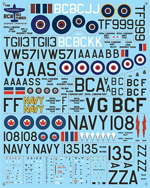 Fundekals 1/48 scale decals for Sea Fury of the Royal Canadian Navy kit FUN48015