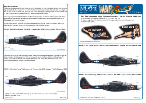 Kits-World 1/32 decals P-61B Black Widow Night Fighter Husslin Hussy - 132020