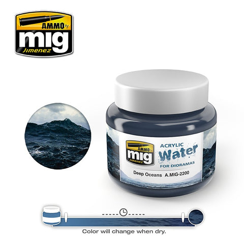 Ammo of Mig Jimenez water simulating Acrylic gel 8oz. DEEP OCEANS #2200