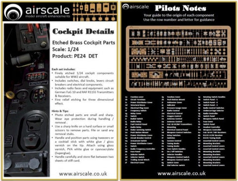 Airscale 1/24 photo etch cockpit details - PE24DET