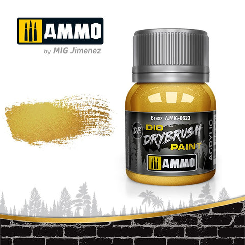 Ammo by Mig Dio Drybrush dense acrylic paint #0623 Brass - 40mL