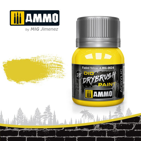 Ammo by Mig Dio Drybrush dense acrylic paint #0624 Faded Yellow - 40mL