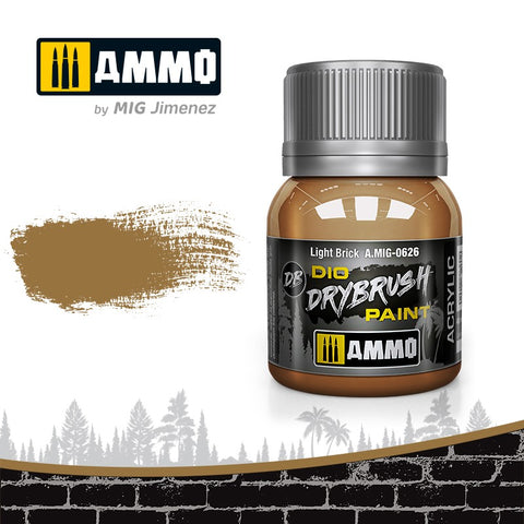 Ammo by Mig Dio Drybrush dense acrylic paint #0626 Light Brick - 40mL