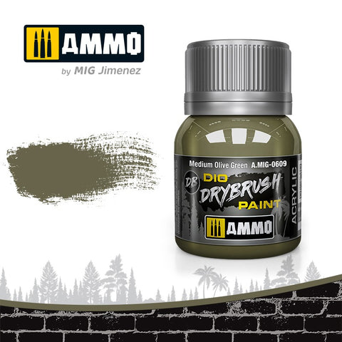 Ammo by Mig Dio Drybrush dense acrylic paint #0609 Medium Olive Green - 40mL