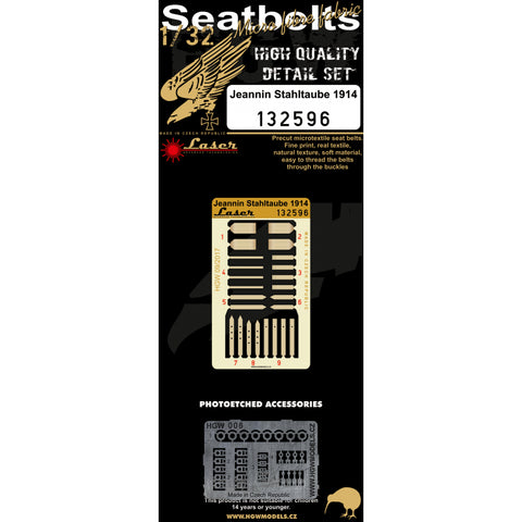 HGW 1/32 scale Jeannin Stahltaube 1914 seatbelts for Wingnut Wings kit - 132596