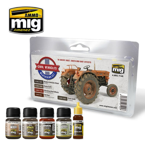 Ammo Mig Jimenez CIVIL VEHICLES WEATHERING SET AMIG7145 Rust, Earth (MUD) & Dirt