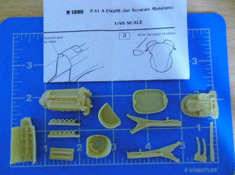 Verlinden 1/48 Resin P-51A Mustang Engine for Accurate Miniatures 1260 - Missing Manuf Box!