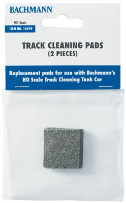 Bachmann HO SCALE TRACK-CLEANING REPLACEMENT PADS (2 per pack) #16949