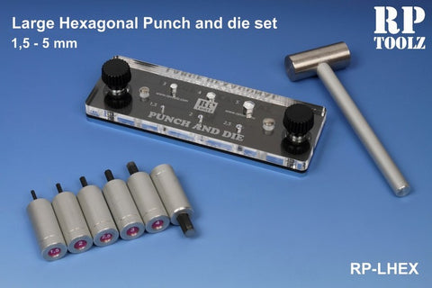 RP Toolz - Large Hexagonal punch and die set 1.5-5.0mm - RP-LHEX