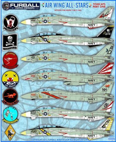 Furball Aero-Design 1/48 F-14 Tomcat Air Wing All Stars decal for Hasegawa - 48-021