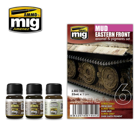Ammo Mig Jimenez 3 jars 35mL each EASTER FRONT MUD WEATHERING SET - AMIG7405