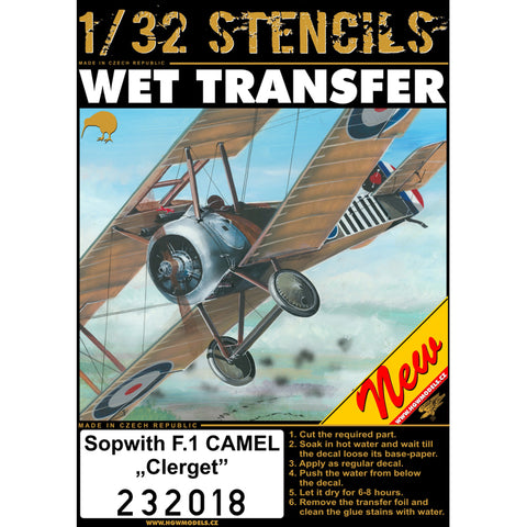 HGW 1/32 scale Stencils - Wet Transfers -for Sopwith F.1 Camel Clerget - 232018