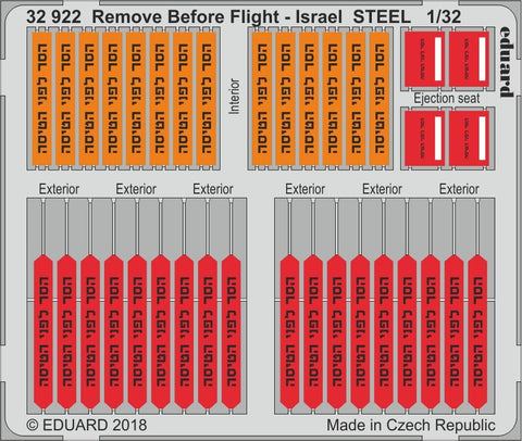 Eduard 1/32 - Steel photoetch with color - Remove Before Flight - Israel - 32922