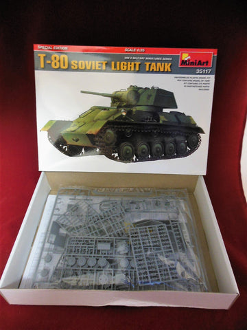 MiniArt 1/35 scale WWII T-80 Soviet Light Tank - #35117 Slight Shelf Wear