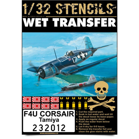 HGW 1/32 Stencils - Wet Transfers - F4U-1 Corsair for Tamiya - 232012