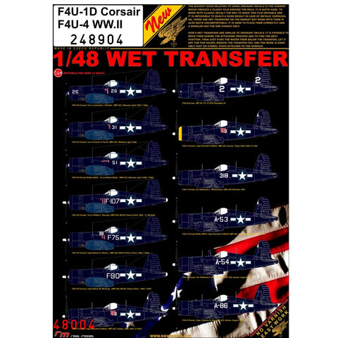 HGW 1/48 scale wet transfers for F4U-1D / F4U-4 WW.II Kits  - 248904