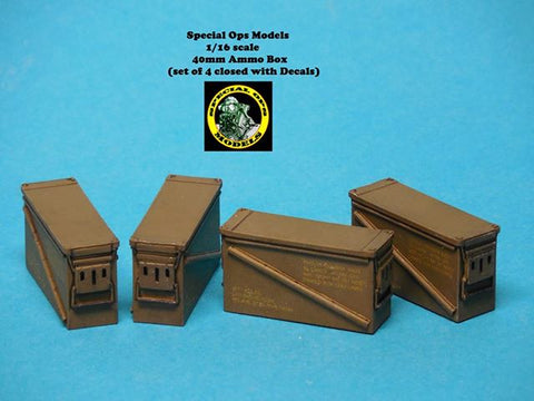 Special Ops 1/16 scale Modern Equipment (Miniature!) 40MM Ammo Box x 4 w/decals