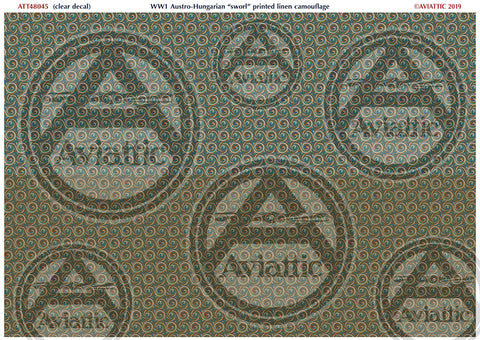 "Aviattic 1/48 decals WWI Austro-Hungarian printed linen ""sworl"" camouflage (Clear decal)"