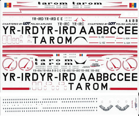 Fundekals 1/144 Decals TAROM IL-62s - Liveries Unlimited - FUN14-018
