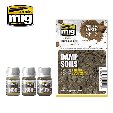 Ammo Mig Jimenez 3 jars 35mL each DAMP SOIL EFFECTS ENAMEL SET - AMIG7439
