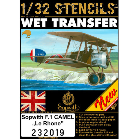 HGW 1/32 scale Stencils - Wet Transfers for Sopwith F.1 Camel Le Rhone - 232019