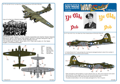 Kits-World decals 1/32 B-17F Flying Fortress Ye Olde Pub for HK Models - 132063