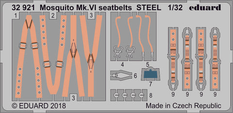 Eduard Photoetch set 1/32 - Mosquito Mk. VI seatbelts STEEL for Tamiya - 32921