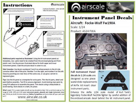 Airscale 1/24 Fw 190A Instrument Panel decal AS24FWA