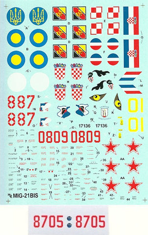 Hi-Decal Line 1/48 decals for MiG-21 BIS Fishbed L/N #48-001